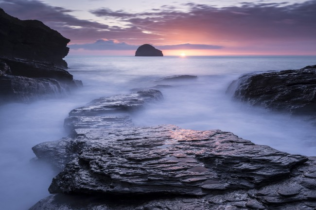 Trebarwith Strand, late evening light and incoming tide, North Cornwall, UK. March 2014.