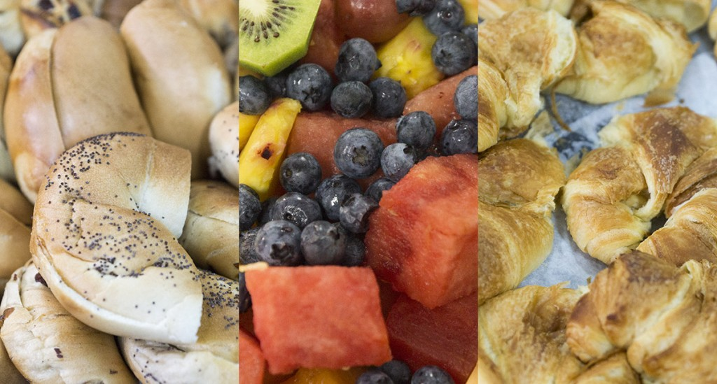 Bagels, fresh fruit and croissants for breakfast, it is always always important to keep everybody fed and happy.