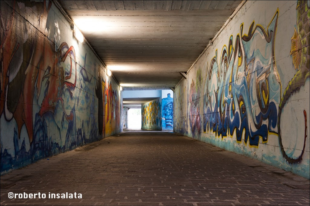 Original urban background, captured in an Italian city underpass.