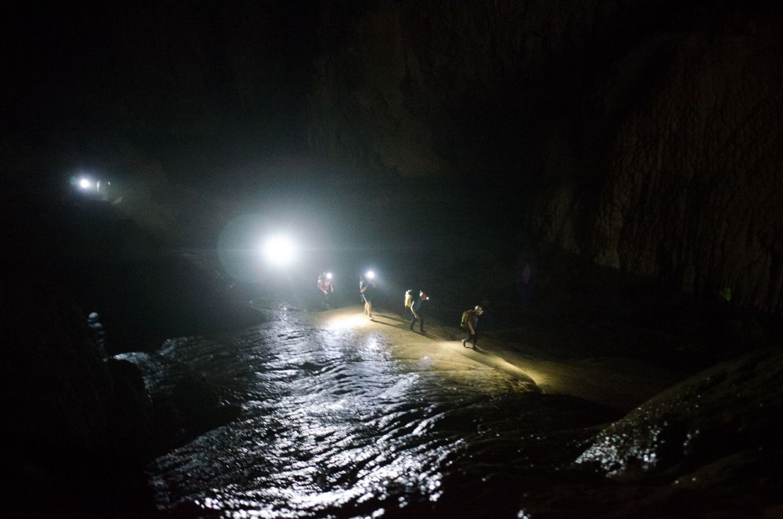 The #SonDoong360 expedition team walking through Son Doong