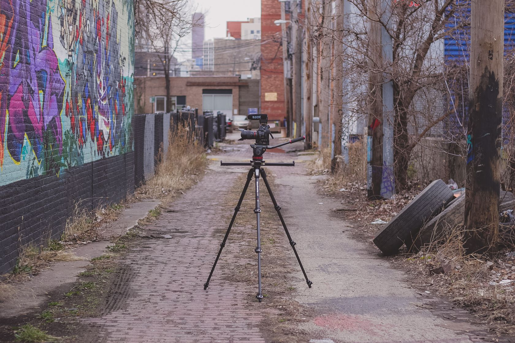 (Chicago, IL) {Pictured: Rode Video Mic Pro, Canon C100, Manfrotto 60cm slider, Manfrotto 055 CF tripod}